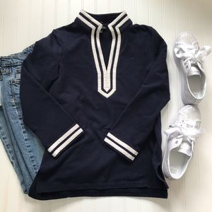 Talbots navy blue and white tunic